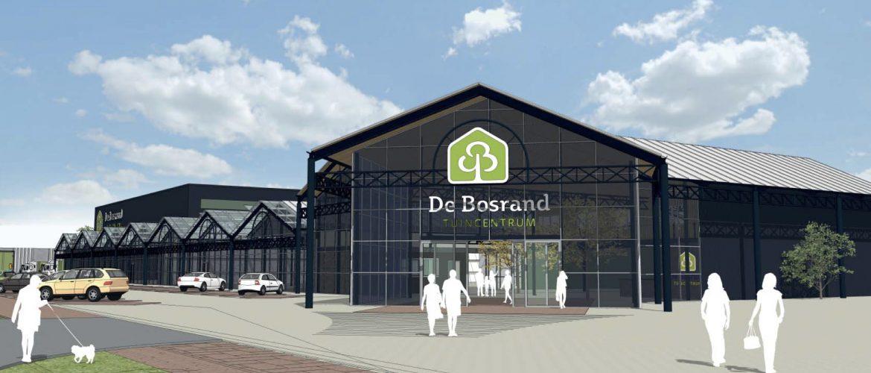 Impressie van de voorkant van De Bodrand zoals deze op het bedrijventerrein De Boeg in Oegstgeest gebouwd gaat worden.