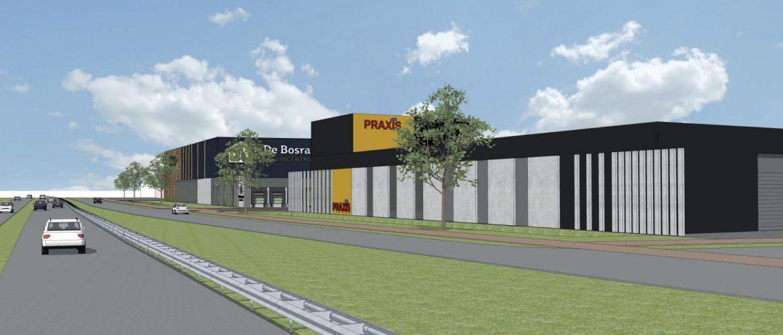 Impressie van Praxis langs de A44 zoals deze op het bedrijventerrein De Boeg in Oegstgeest gebouwd gaat worden.