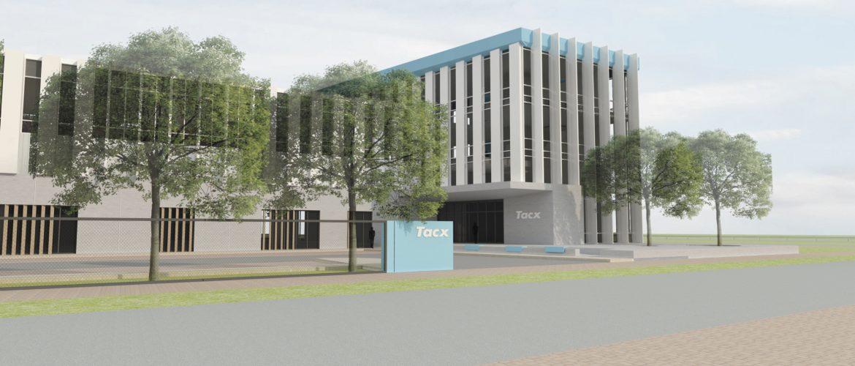 Impressie van de voorkant van Tacx zoals deze op het bedrijventerrein De Boeg in Oegstgeest gebouwd gaat worden.